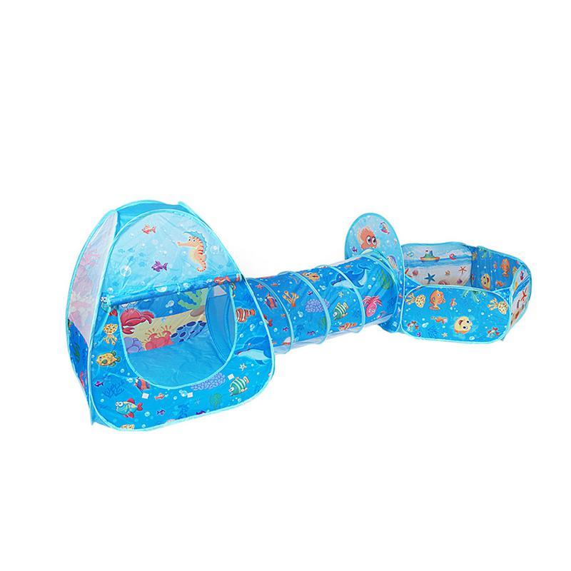 Tente Jeu Maison Tunnel pour Enfants-Pliable Tirer Boule Marine Piscine pour Bébé Trois ensembles de enfants de tentes bébé Jouet tentes