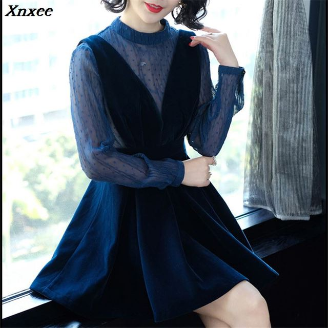 a3321b085fb3e US $18.89 |2019 New Spring Royal blue Velvet Fake two pieces Dress Female  Loose Long Sleeved Spring Autumn Dresses For Women Sexy Dresses-in Dresses  ...