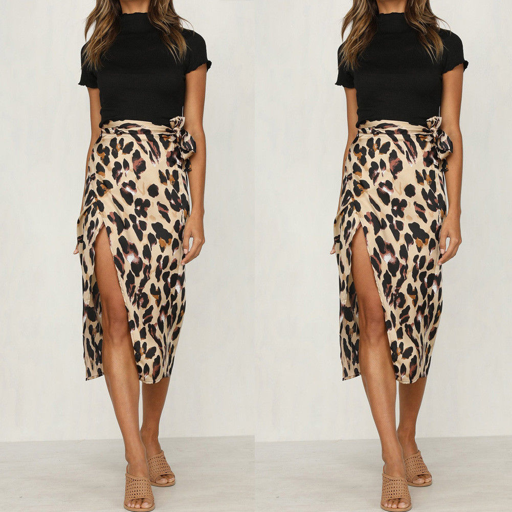 Charitable 2019 New Fashionable Women Summer Leopard Print Skirt Ladies Sexy And Charming High Waist Polyester Skirt