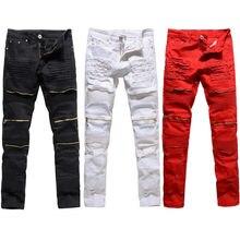 קלאסי Slim Mens גברים בגדי Fit ישר Biker המרטש רוכסן מלא אורך גברים של מכנסיים מכנסי קזואל גודל 36 34 32גינס