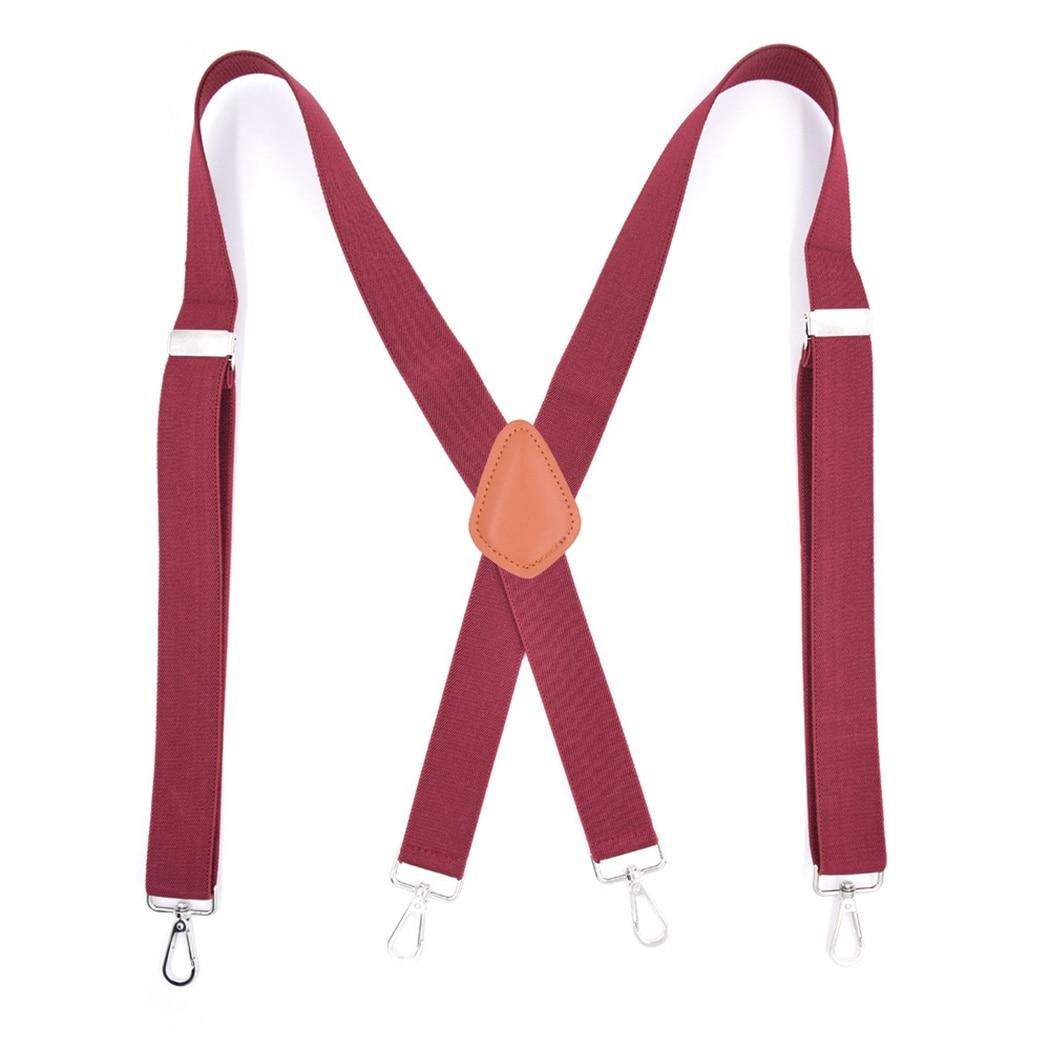 Men Four Clip-On Suspender Hook Strap Black Triangle Strap X-Back Braces Brown Adjustable Strap Of Trousers Adjustable Bretels