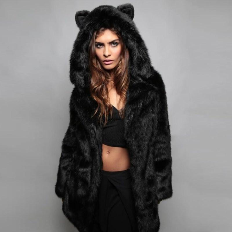 2018 Winter Women Faux Fur Coat Casual Plus Size Hooded Fur Coat Jacket Cat Ear Warm Long Sleeve Jacket Overcoat