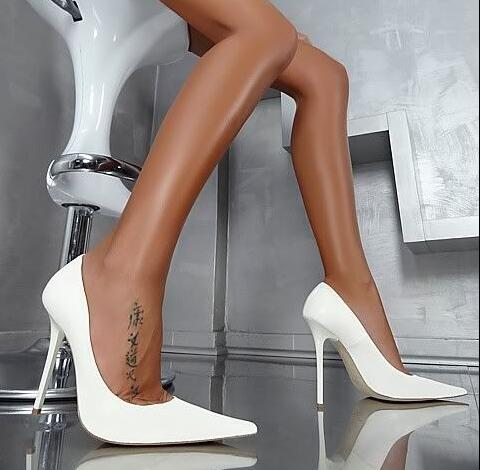 Super High Heels Yellow Leather Women Shoes High Heels Pointed Toe Slip on Spike Heels Stiletto Wedding Shoes Bride Plus Size 11 in Women 39 s Pumps from Shoes
