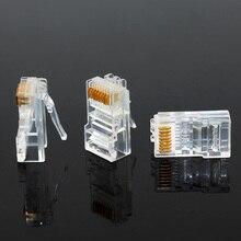 20/50/100PCS Cat6 Cat6e RJ45 cavi Ethernet modulo spina connettore di rete teste di cristallo cavo di rete placcato in oro OULLX