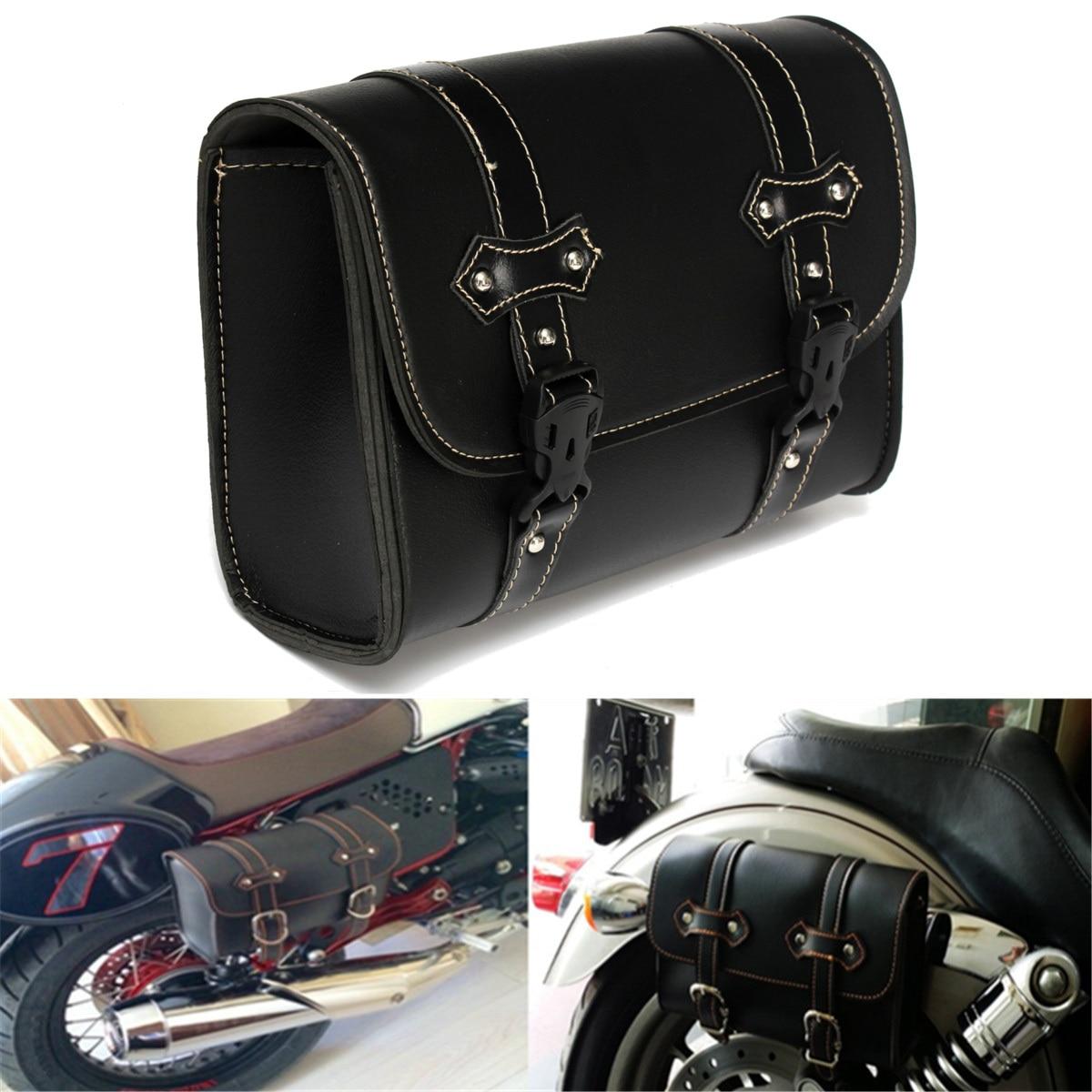Bolsa de herramientas de almacenamiento Universal para motocicleta sillín de cuero para Harley-Davidson