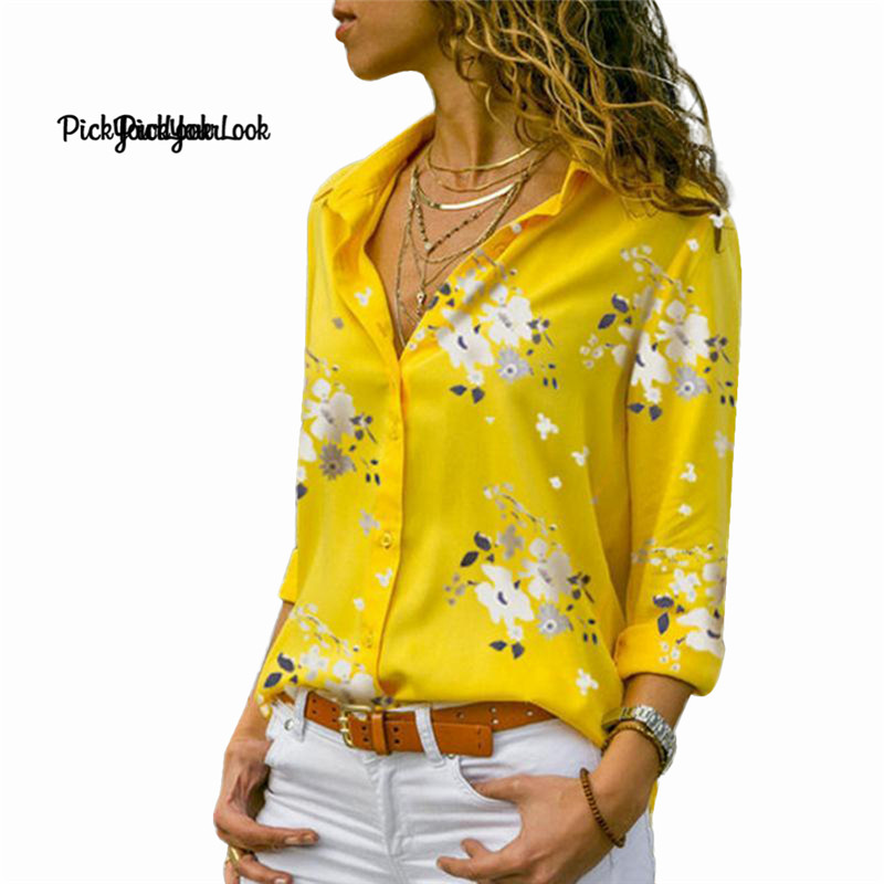 PickYourLook New Women   Blouses     Shirt   Plus Size Long Sleeve V-Neck Printed Flower Hawaii Tops Ladies   Blouses   Casual Fashion 2019