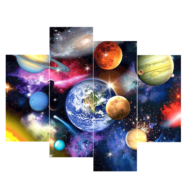 HUACAN 4pcs Diamond Painting Planet Diamond Embroidery Sale Landscape Full Square Pictures Of Rhinestone Mosaic Multi