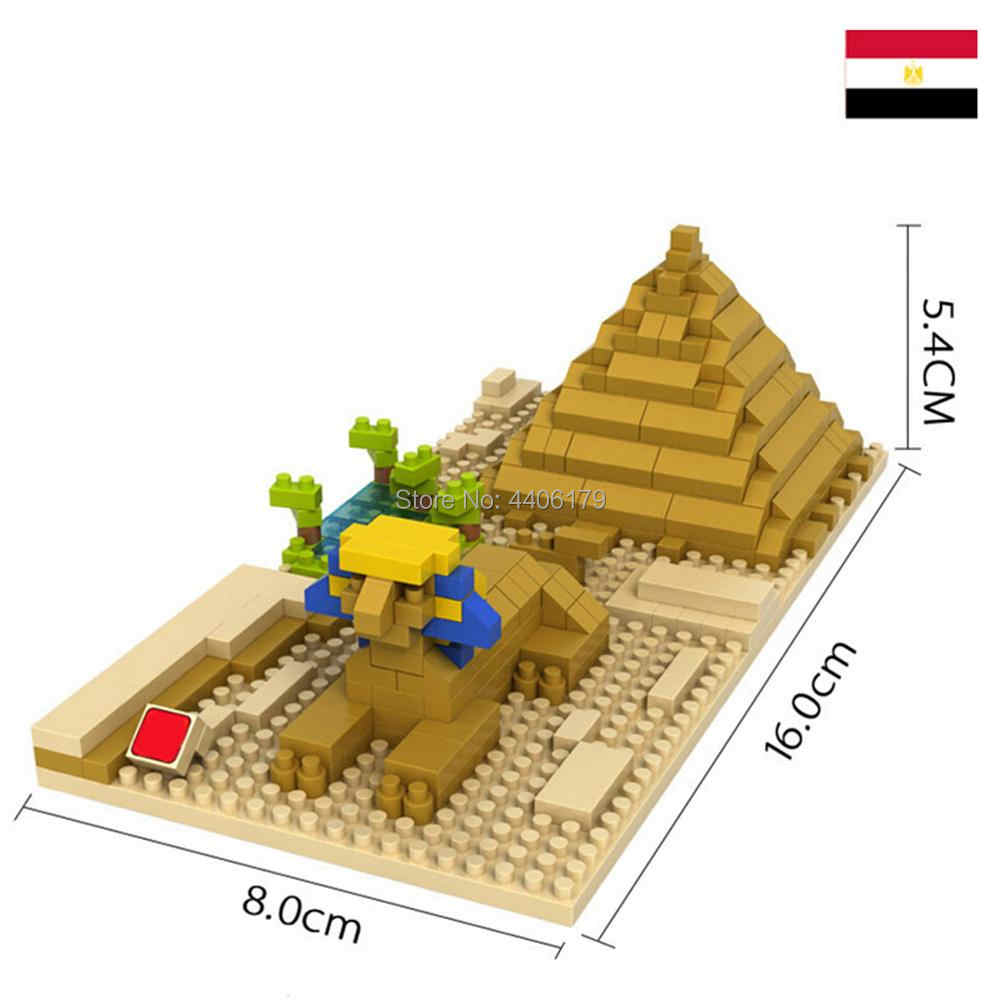 LegoINGlys creators city Street view Sphinx Cheops Pyramid Egypt mini micro diamond building blocks model bricks toys for gifts