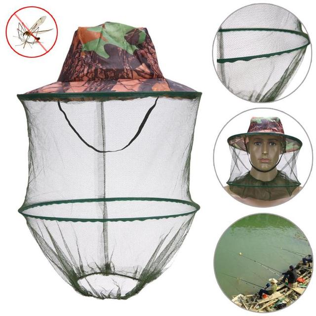 Camouflage Fishing Hat Bee keeping Insects Mosquito Net Prevention Cap Mesh Fishing Cap Outdoor Sunshade Lone Neck Head CoverZ70