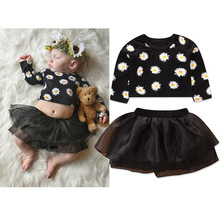 VTOM New Fashion Toddler Kids Girls Sets Autumn Long-Sleeved T-shirt Tops+ Skirt 2PCS Outfit Kids Suits Baby Clothes стоимость