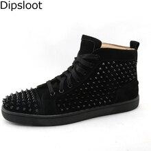 6f9ec06a4 مصنع الرجال مسامير برشام معدنية ترصيع أحذية الرجال عالية قمم للجنسين رياضة  الدانتيل يصل أحذية خفيفة