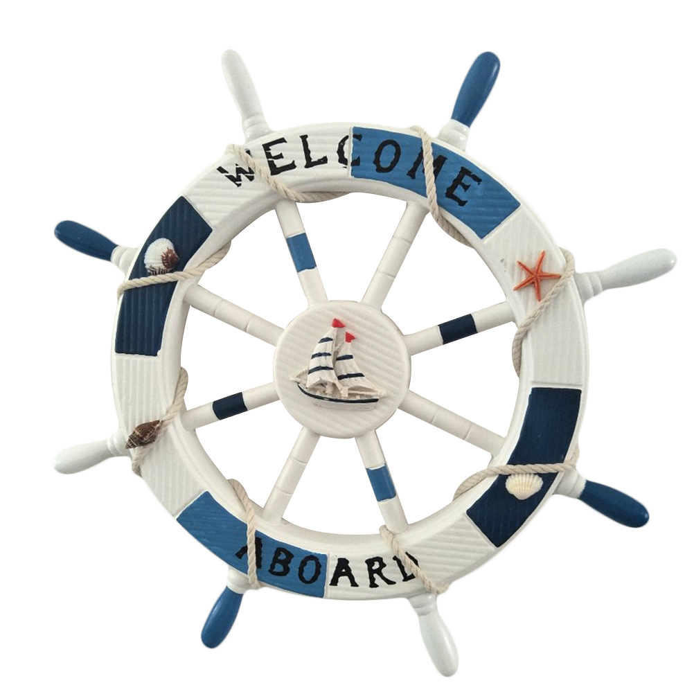 1 Box 45CM Boat Rudder Wooden Beach Mediterranean Style Nautical Shipping Steering Wheel Wall Decor For Living Room Decoration