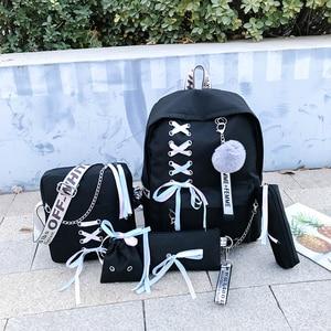Image 2 - Łańcuch plecak z USB kobiety płótno 5 sztuk/zestaw kobiety plecak nastolatek plecaki dla dziewczyn torba na ramię kobieta Student School Bags Tassel