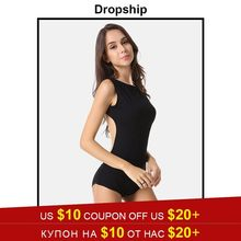 Streetwear Bodysuit Womens Rompers Jumpsuit Sexy Bodysuits Bodycon Overalls Sleeveless 2019 Summer Black Skinny Cotton Halter(China)
