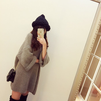 Woman Winter Wear Casual Loose Long Sleeve Pullover Thickening Sweater