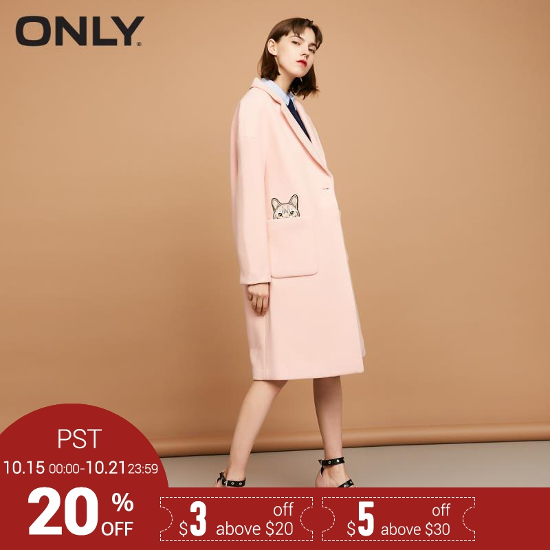 ONLY Brand 2018 NEW wool52% sweet casual single button long sleeves female overcoats jacket coat 11734S501