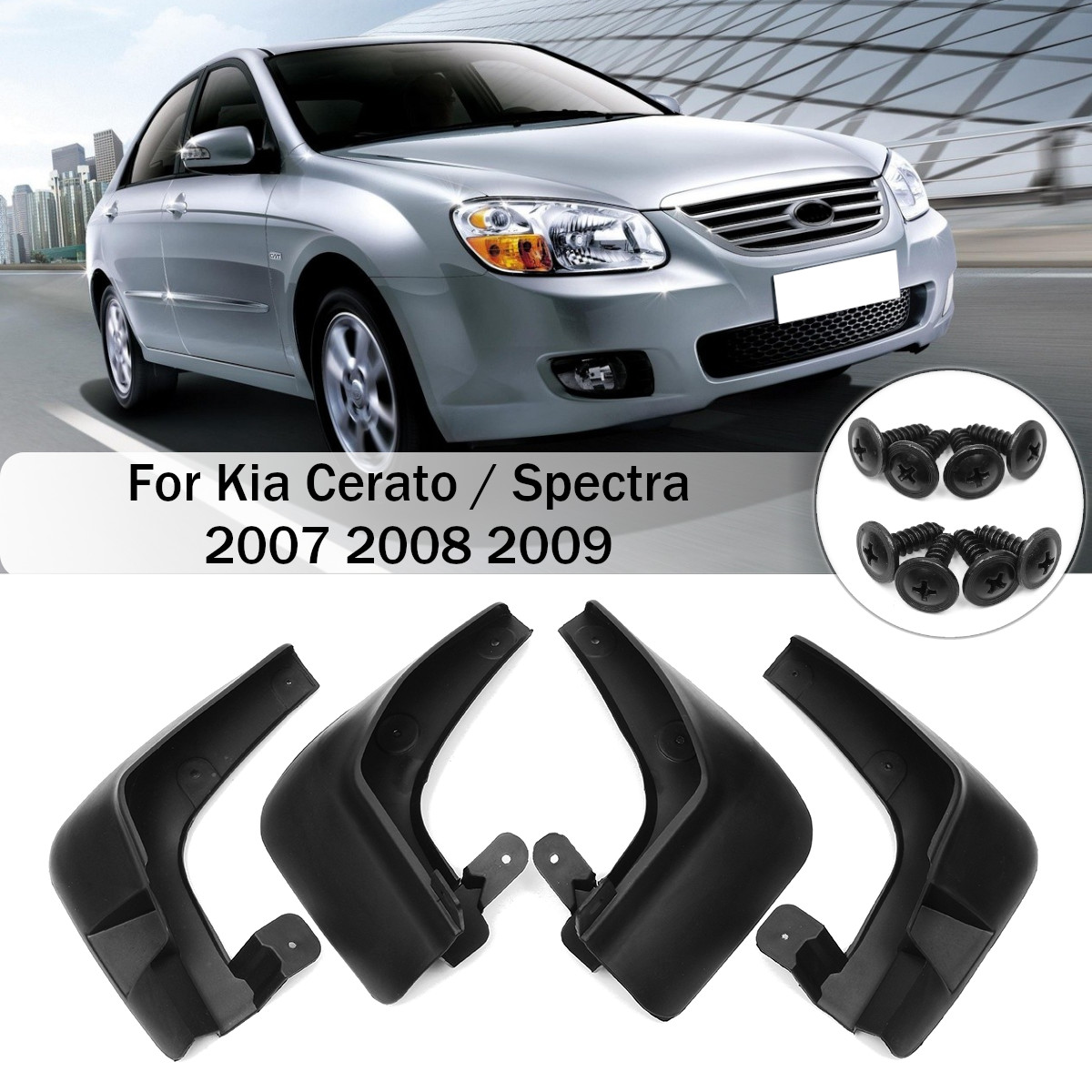 4 Uds guardabarros de coche delantero luces de guardabarros trasero protectores contra salpicaduras para Kia Cerato/Spectra 2007 2008 2009 guardabarros