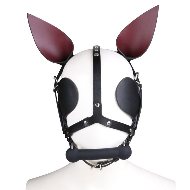 Genuine Leather SM Headgear Eye Mask Mouth Gag Plug Bondage Restraint Role Play Couple Game Exotic Adult Slave BDSM Sex Toy 1