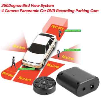 360 Car Camera Bird View System Panoramic 360 Camera Car DVR Recording Parking Front+Rear+Left+Right View Cam with 5inch Monitor