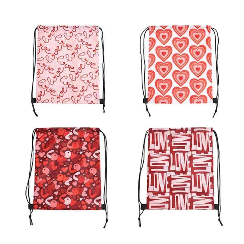 4 шт. шнурком рюкзаки Портативный на День святого Валентина, сумки с принтом на шнуровке для хранения мешочки подарочные пакеты вечерние праздничные сувениры Поставки