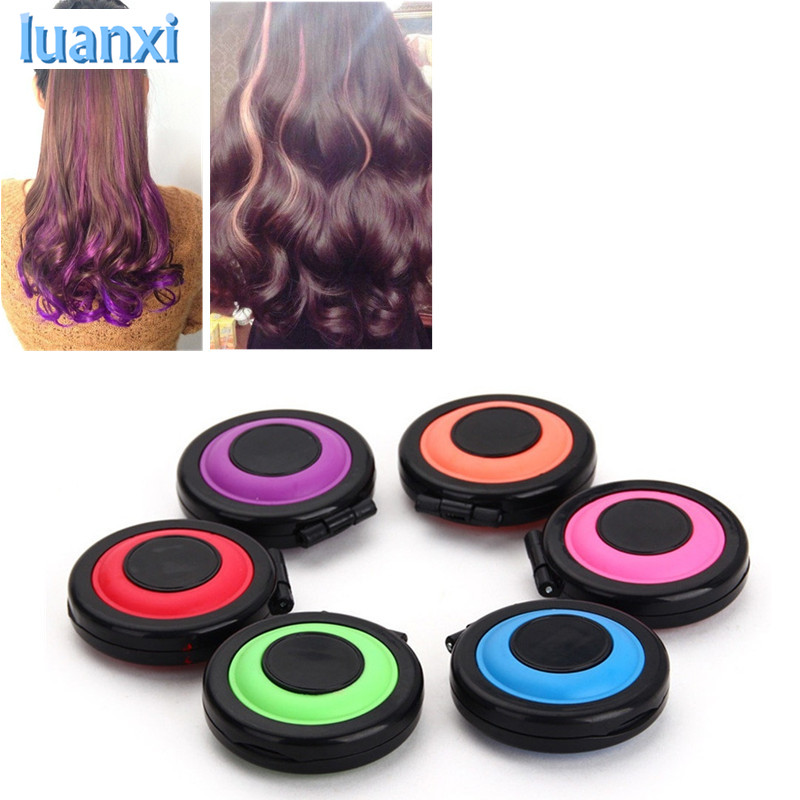6Pcs Hair Color Crayons Temporary Hair Dye Powder Cake Styling Hair Chalk Set Soft Pastels Hair Care Styling Non-toxic Bb
