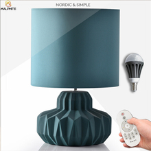 Nordic Ceramic table lamp Simple Blue Fabric Led Table Lamps Bedroom Bedside Light home Deco Lighting Luminaria