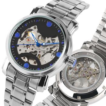 Steampunk przejrzyste zegarki mechaniczne własna wiatr dla mężczyzn moda wodoodporna stal nierdzewna szkielet mechaniczne zegarki na rękę tanie i dobre opinie YISUYA Automatyczne self-wiatr Moda casual STAINLESS STEEL 25inch Składane zapięcie z bezpieczeństwem 5Bar 35mm Odporne na wodę