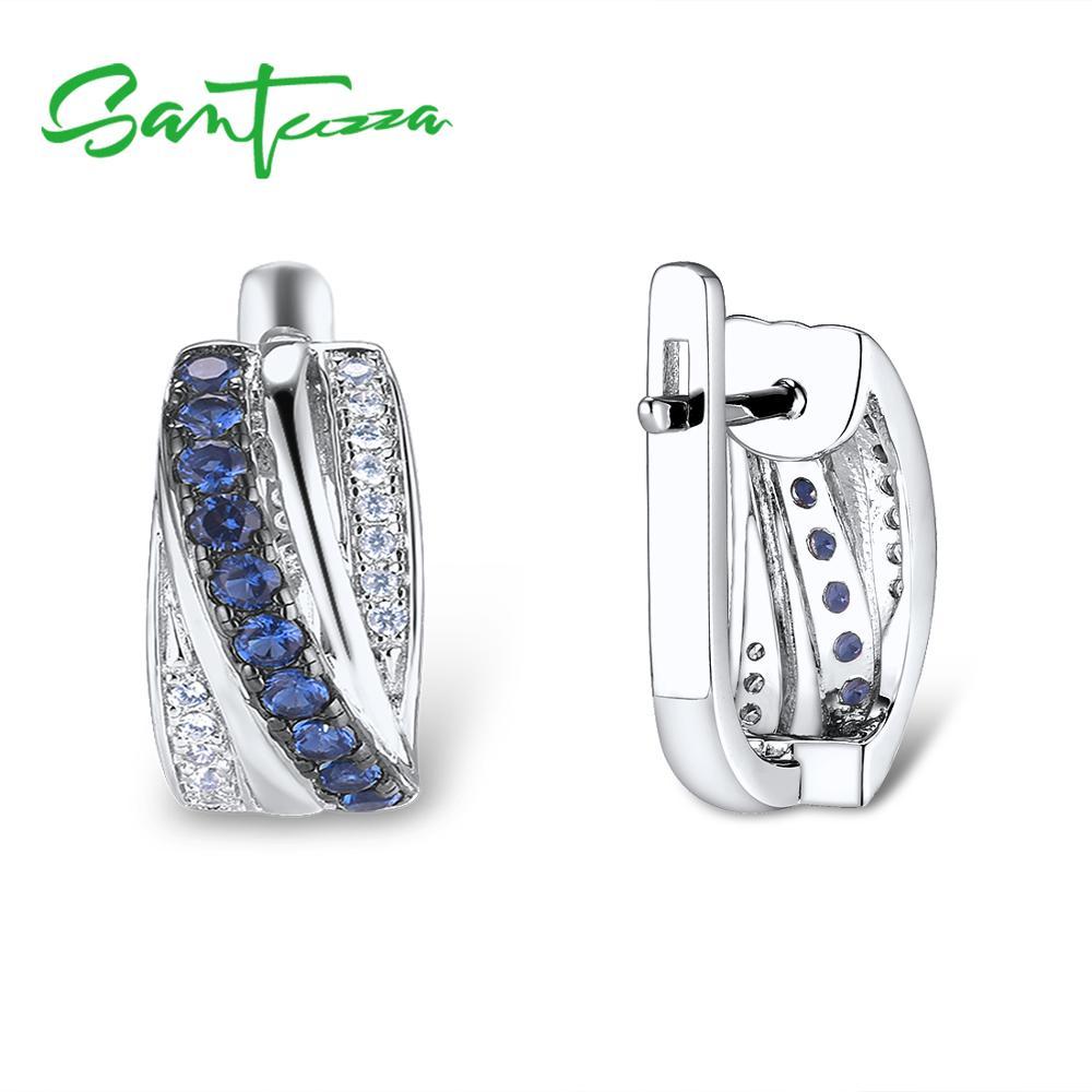 Image 2 - SANTUZZA Silver Earrings For Women 925 Sterling Silver Stud Earrings Blue Nano Cubic Zirconia brincos Elegant Fashion JewelryEarrings   -