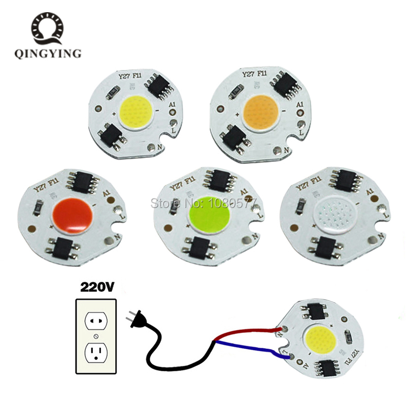 5pcs 3W 5W 7W 10W 12W LED Lamp COB Chip 220V Input Smart IC Driver Fit For DIY Cold White / Warm White LED Spotlight Floodlight
