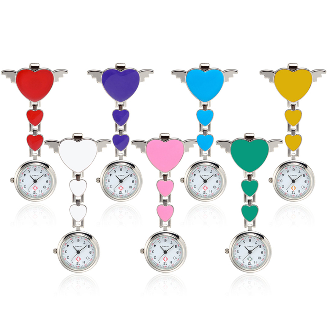 Brooch Fob Pendant Pocket Quartz Nurse Watch Hot Sale Heart Shape Clip On Hanging Watch For Doctor Ladies Watches With Battery