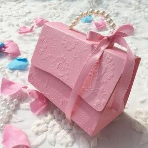 Image 2 - RMTPT Tragbare Hochzeit Party Favor Boxen Schokolade Treat Süßigkeiten Boxen mit Bändern für Hochzeit Braut Dusche Baby Dusche Geburtstag