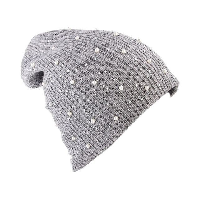 4b764ae975a Ladies Girl Stretch Knit Hat Beautiful Women Cap With Rhinestone Bead  Beanies Winter Caps Warm Hats