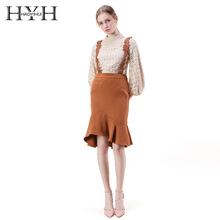 HYH HAOYIHUI Lantern sleeve Patchwork Sweet Pure Women blouse Tops Casual Crochet