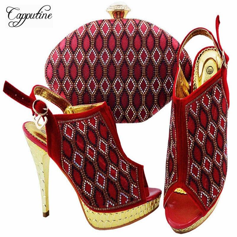 29fed3b461b313 Hauts Main Décoré or Chaussures Sacs Sac Noir Couleur Talons Afrique Strass  Rouge Robe lime rouge Et Zc003 Green fuchsia ...