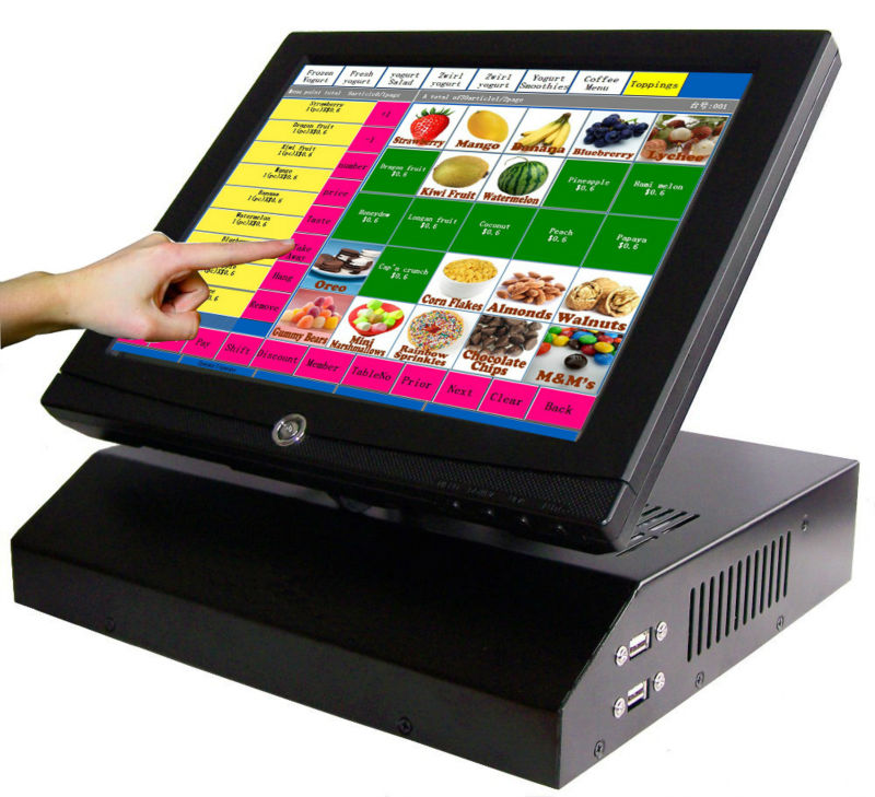 US $365 0 |12 inch pos touch all in one pc cheap cash register cash duawer  pos monitor pos for restaurant-in LCD Monitors from Computer & Office on