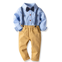 HI&JUBER Spring Kids Boys Clothing Suit Gentleman Bow Striped Long-Sleeve Shirt +Stretch Pants 2pcs