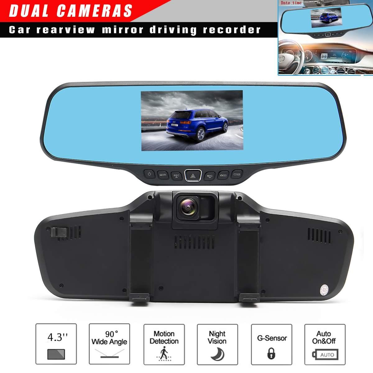 Full HD 1080 P Voiture caméra dvr Auto 4.3 Pouces rétroviseur Numérique enregistreur vidéo Double Lentille Registratory webcam de tableau de bord pour vision de nuit