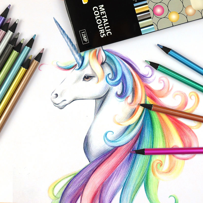 12 Colors Artist Drawing Colored Pencils Metallic Neon Color Professional Sketching Pencils Set School Art Supplies Stationery