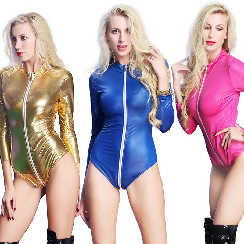Womens Gothic PVC Clubwear Latex Leather Collant Femme Costume Bodysuit Jumpsuit Cosplay Fancy Dress Plus Size S-3XL