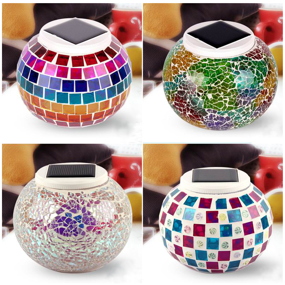 Access Control Security & Protection Mosaic Glass Outdoor Solar Power Light Color Changing Lawn Ball Lantern Led Light Yard Garden Holiday Decoration Lighting Lamps