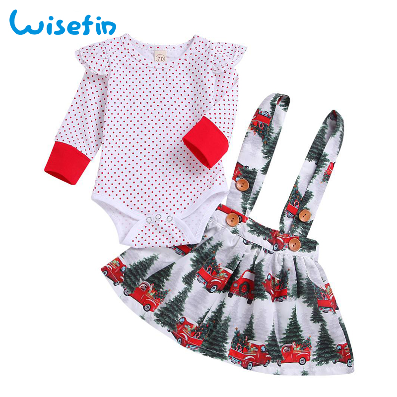 Wisefin Baby Christmas Outfits Long Sleeve Baby Girl Clothes Set My First Christmas Girl Cotton Newborn Bodysuit+Overalls Skirts wisefin baby christmas outfits long sleeve baby girl clothes set my first christmas girl cotton newborn bodysuit overalls skirts