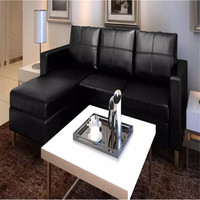 vidaXL Sectional 3 Seater Sofa Synthetic Leather Sofa Black 241979 Sofa for Living Room Office