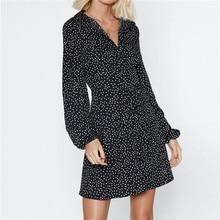 купить 2019 Summer Dress Women Polka Dot Beach Chiffon Mini Dresses Casual Long Sleeve A-Line Sexy Short Party Dress Vintage Vestidos по цене 856.12 рублей