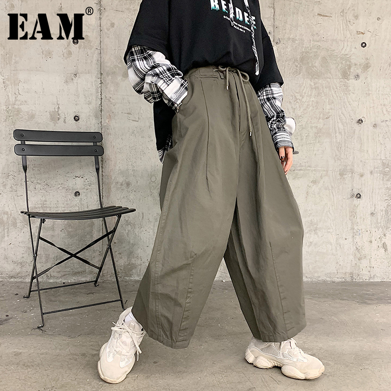 [EAM] 2019 New Autumn Winter High Elastic Waist Loose Big Pocket Splitj Oint Loose Wide Leg Pants Women Trousers Fashion JQ110-in Pants & Capris from Women's Clothing    1
