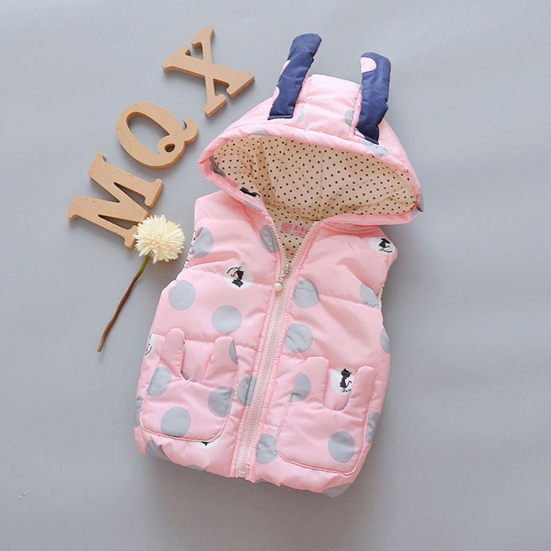 Baby Vest Girl Body Warmer Kids Cartoon Hooded Vest Child Thick Cotton Winter Warm Children's Clothing Toddler Waistcoat 0 3T