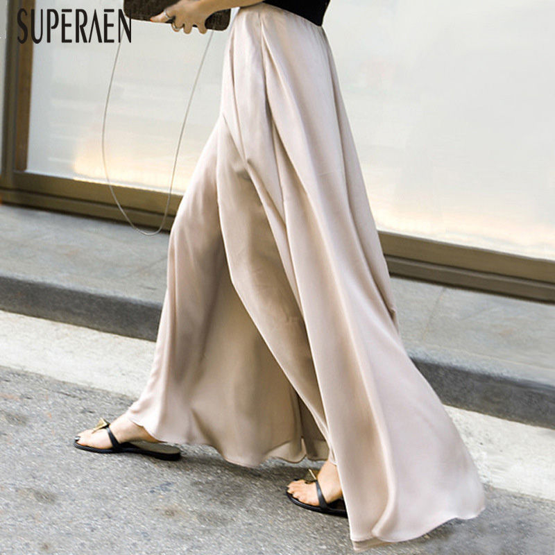 SuperAen Chiffon Wide Leg Pants Female High Waist Wild Casual Fashion Elastic Waist Pants Women Spring And Summer New 2019