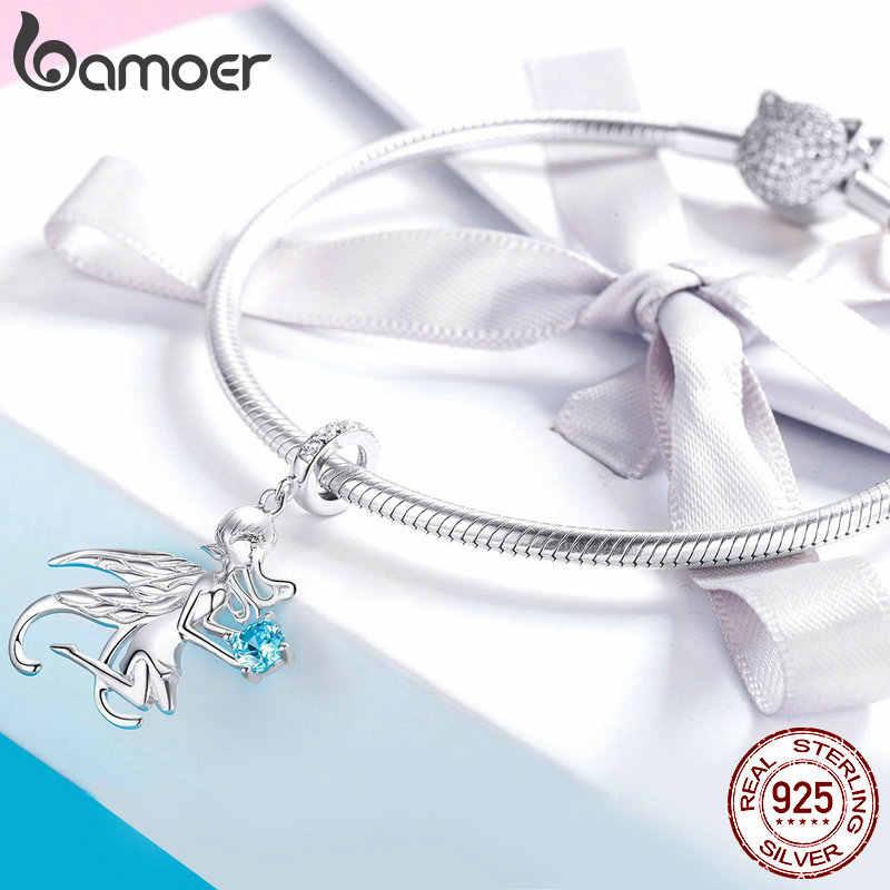 BAMOER offre spéciale 100% 925 argent Sterling Elf fée histoire pendentif breloques ajustement Original femmes Bracelets colliers bijoux BSC068