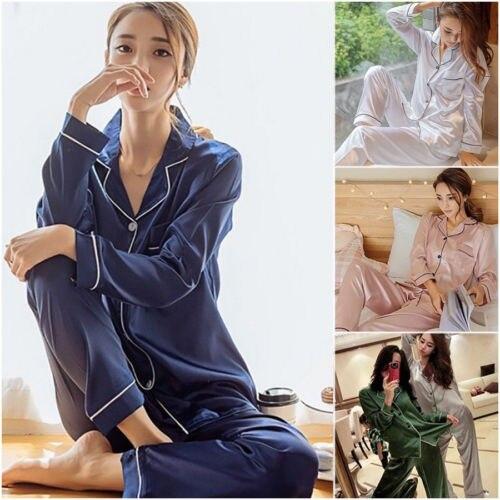 New Women 2019 Solid Sleepwear Long Sleeve   Pajamas     Sets   Home Suit Nightwear Causal 5 Colors