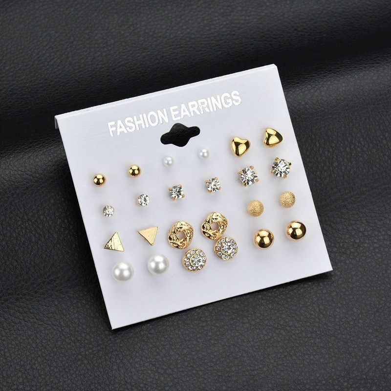 12 Pairs/set Stud Earrings Sets For Women Jewelry Silver Classic Women Round Ball Pearl Earrings Boho For Female Girl Earring