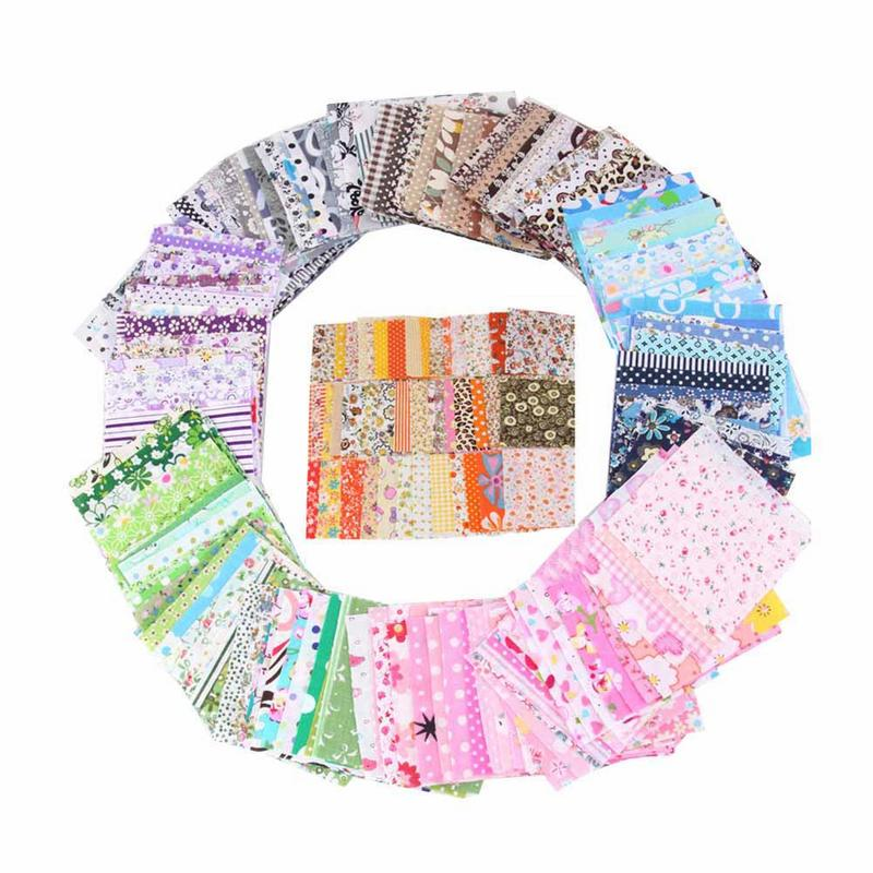 50pcs Pastoral Floral Twill Cotton Fabric Patchwork Cloth Sewing Crafts